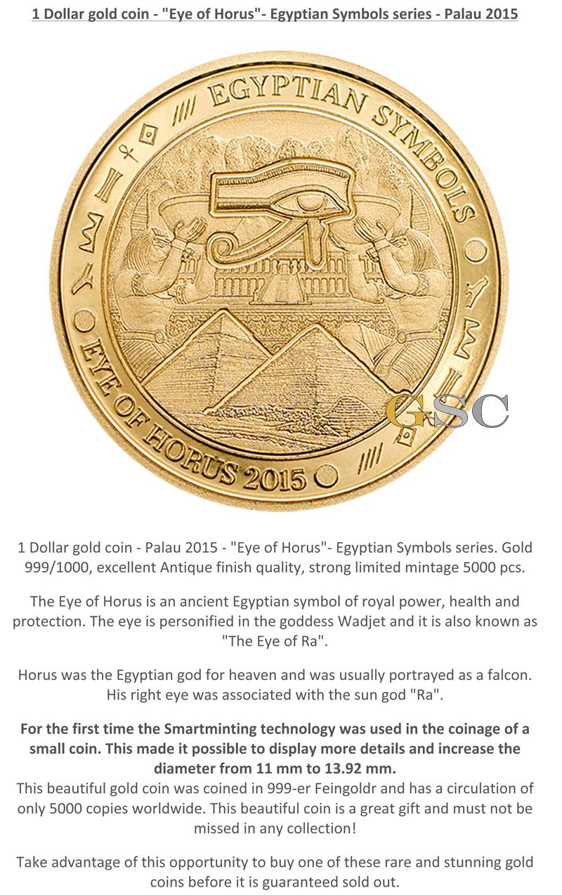 Palau 2015 1 eye of horus egyptian symbols series 999 fine gold silber coins buycottarizona Image collections