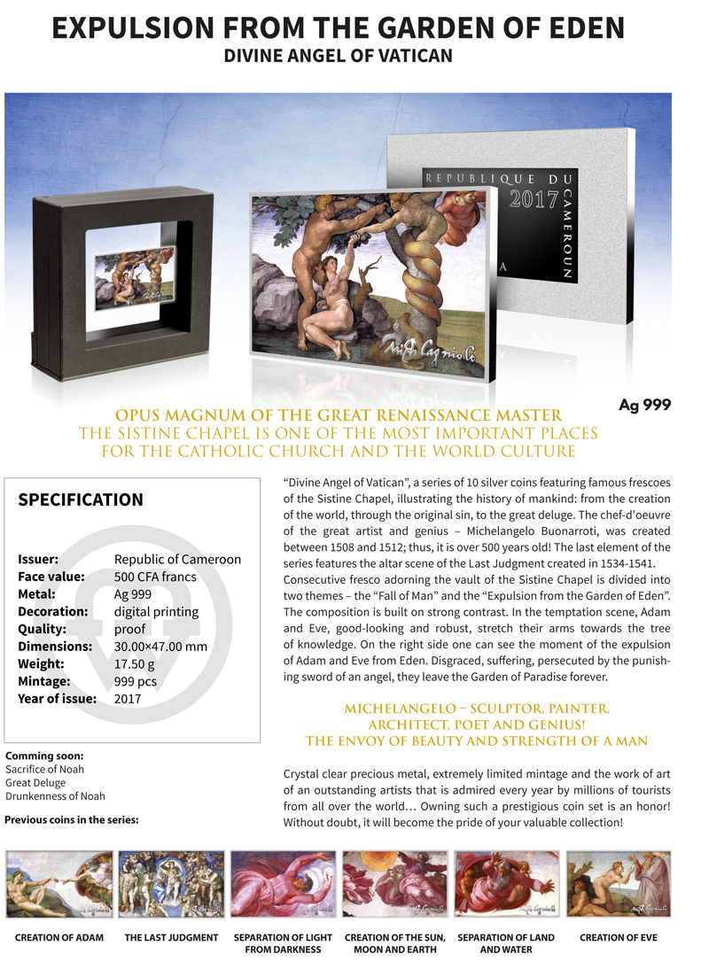 Cameroon 2017 500 Cfa Expulsion Of Garden Eden Divine Angel Vatican Silver Coin Ebay