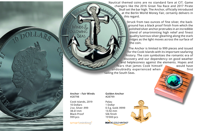 FAIR WINDS ANCHOR with Box and COA 2019 Cook Islands $10 2oz 999 Silver Coin