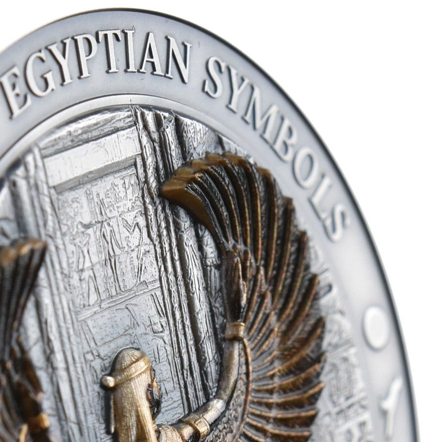 Winged Goddess Isis Egyptian Symbols series .999 fine gold coin Palau 2016