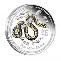 """1$ Silbermünze - Lunar II Schlange -""""Year of The Snake 2013""""- Farbige Ausgabe"""