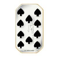 """15$ Silbermünze - 1 Unze """"Pik 10"""" - Playing Card Money"""
