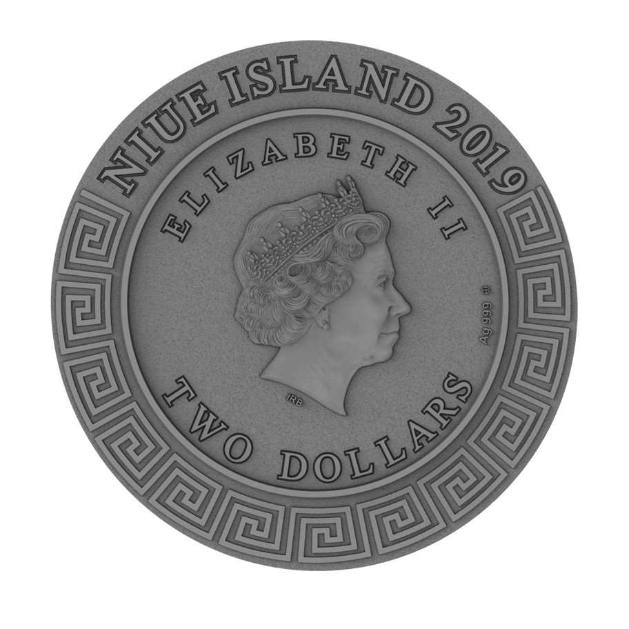 Gedenkmünzen Azteken Kalender 2$ Silbermünze 2 Unzen Niue Island 2019