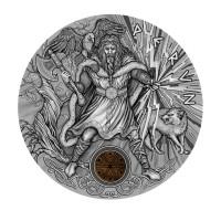 """2 Dollar Silbermünze - """"PERUN""""  der slawische Gott des Donners und der Blitze 2 Oz 999 Silber - Niue Island 2018"""