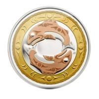 "3 Dollar Silbermünze - ""Lachs"" - König der Flüsse - Kanada 2010"