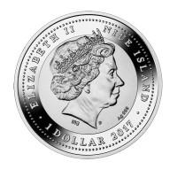 """1 Dollar Silbermünze - """"Hahn auf einem Stiel"""" - Niue Island 2017"""