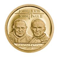 """1500 шиллингов Золотая монета - Танзания 2014 - """"Kанонизации Папы"""""""