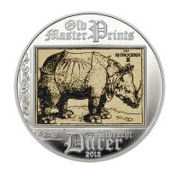 """5 Dollar Silbermünze - Cook Islands 2013 - """"Rhinoceros"""" Albrecht Dürer"""
