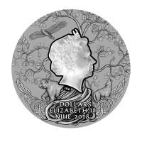 """Перун"" - Бог-громовержец  Серебряная монета 2 доллара - 2 унций 999 серебро - остров Ниуэ 2018"
