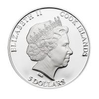 """5 Dollar Silbermünze - Cook Islands 2013 - """"Tina Maze"""" mit Original-Stück vom Weltmeister-Ski"""